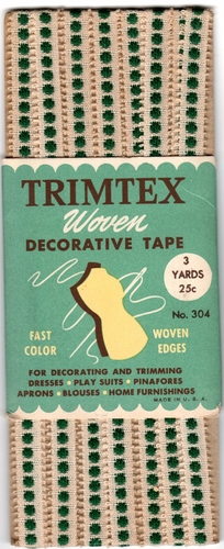 Vintage Trimex Woven Decorative Tape- Off White w/Green Dots