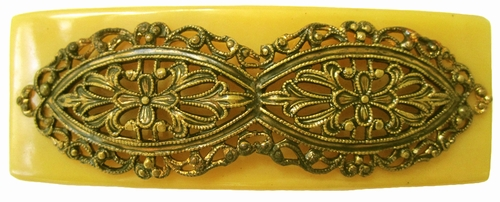 Vintage Yellow Bakelite  Clasp With Filigree Detail