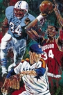 Houston 34's fine art print signed by Earl Campbell, Hakeem Olajuwon and Nolan Ryan