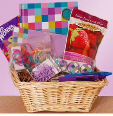 Purple Checks Stationary Basket - FREE SHIPPING