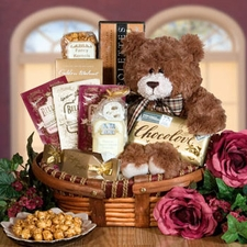 Sweet Regards Teddy Bear Basket - FREE SHIPPING