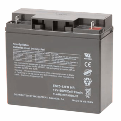 MK ES20-12FRHR UPS Battery MK SMALL SEALED HIGH RATE FR 12 V 20 Amp Hour 80 W/Cell 15 Minute Rate 24.1 Pounds Ship Wht.