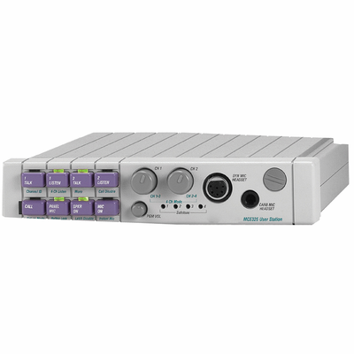 Telex MCE-325 A5F, F.01U.146.627 - 2 or 4 channel user programmable modular user station w/call signaling, dual action mic switch, individual volume controlsconnector. 1RU by 1/2 rack wide.
