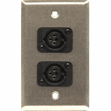 Whirlwind WP1/2FW - Wallplate 1 gang SS 2 WC3F female XLRs
