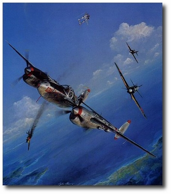 AVIATION ART HANGAR - Pacific Summer by John Shaw (P-38)