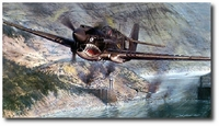AVIATION ART HANGAR - Tigers in the Gorge by John Shaw (P-40)