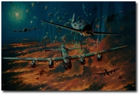 Berlin Boar Fight by Anthony Saunders (Lancaster, Fw190)