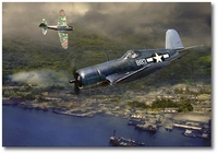 Gunfight Over Rabaul by Jack Fellows (F4U Corsair)