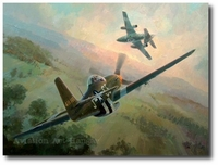 Nowotny's Final Encounter by Keith Ferris (P-51D, Me-262)