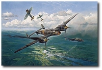 Struck by a Thunderbolt by Heinz Krebs (P-47, Me110)