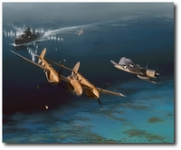 Too Close for Comfort by Jack Fellows (P-38 & F4U)