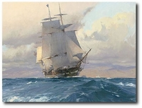 U.S. Frigate Congress on the California Coast by Christopher Blossom