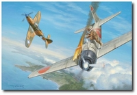 Yoshino's Fatal Mistake by Roy Grinnell (Japanese Zero, P-400 Airacobra)