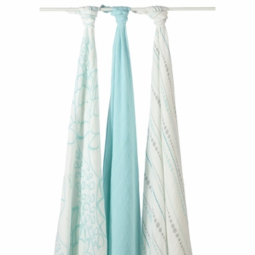 Aden + Anais Bamboo Muslin Swaddle - 3 Pack - Azure