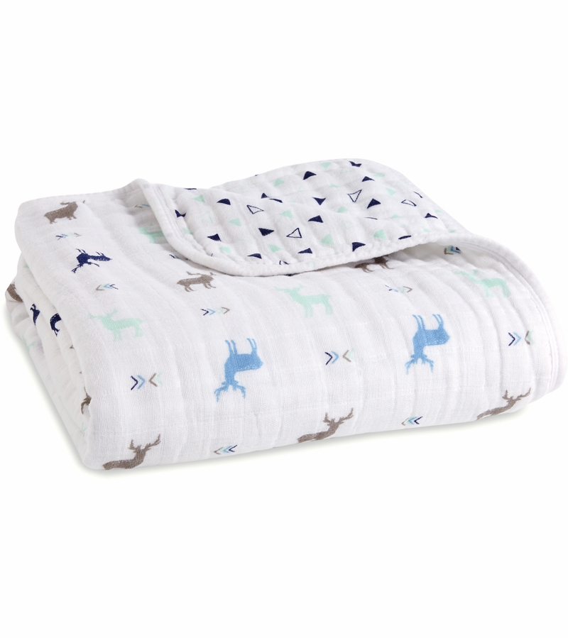 This 4-layer cotton muslin Flip-Side Dream Blanket from aden + anais will be soft and snuggly against your baby's skin, and just right for cuddling, the stroller, play and more. It .