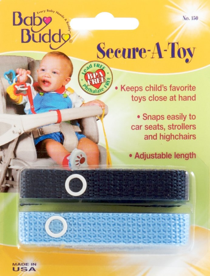 Baby Buddy Secure-A-Toy, 2 Pack - Navy / Blue