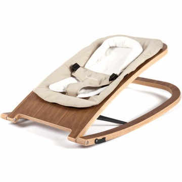 BabyHome Wave Wooden Rocker - Walnut Frame with Sand Fabric