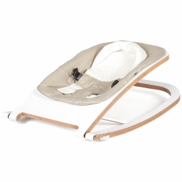 BabyHome Wave Wooden Rocker - White Frame with Sand Fabric