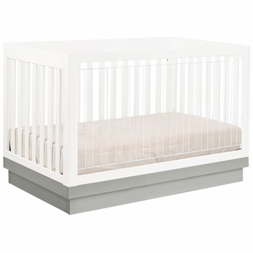 Babyletto Harlow 3-in-1 Convertible Crib with Toddler Rail - White/Gray