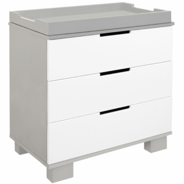 BabyLetto Modo 3 Drawer Dresser with Changing Tray in Grey & White