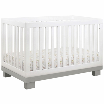 BabyLetto Modo 3-in-1 Convertible Crib with Toddler Rail in Grey & White