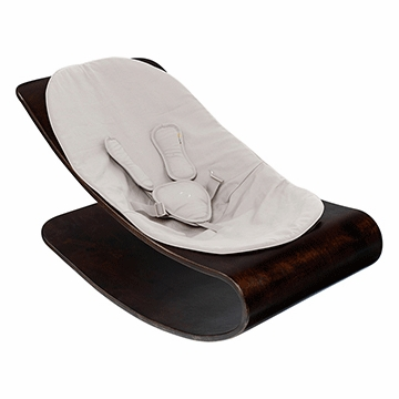 Bloom Coco Stylewood Cappuccino Baby Lounger in Organic Frost Grey