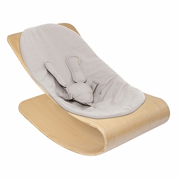Bloom Coco Stylewood Natural Baby Lounger in Organic Frost Grey