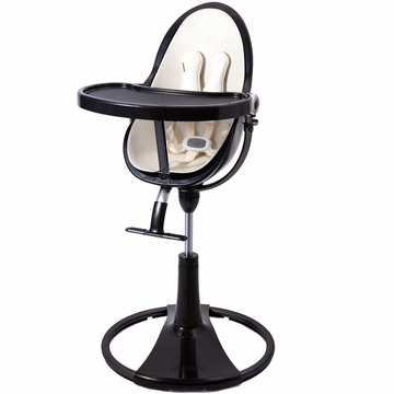 Bloom Fresco Highchair with Black Frame in Coconut White (Leatherette)