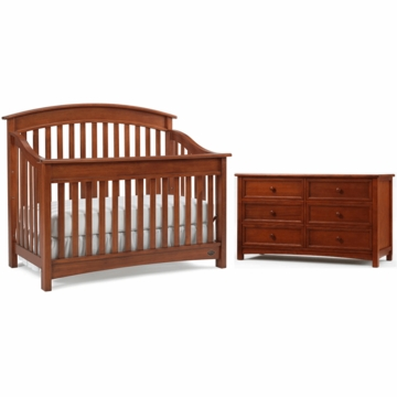 Bonavita Casey Lifestyle 2 Piece Nursery Set in Chestnut - Lifestyle Crib & Double Dresser