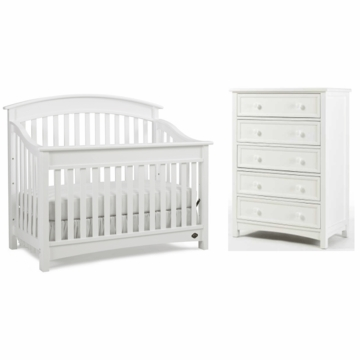 Bonavita Casey Lifestyle 2 Piece Nursery Set in Classic White - Lifestyle Crib & 5 Drawer Dresser