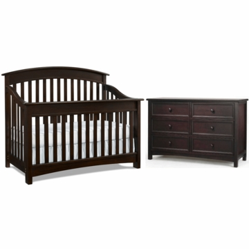 Bonavita Casey Lifestyle 2 Piece Nursery Set in Espresso - Lifestyle Crib & Double Dresser