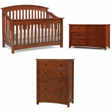 Bonavita Casey Lifestyle 3 Piece Nursery Set in Chestnut - Lifestyle Crib, Double Dresser & 5 Drawer Dresser