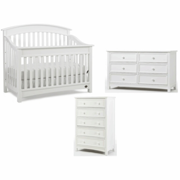 Bonavita Casey Lifestyle 3 Piece Nursery Set in Classic White - Lifestyle Crib, Double Dresser & 5 Drawer Dresser