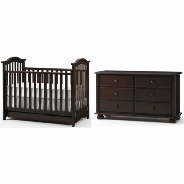 Bonavita Classic Hudson 2 Piece Nursery Set in Chocolate - Crib & Double Dresser