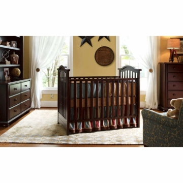 Bonavita Classic Hudson 3 Piece Nursery Set in Classic Cherry - Crib, Double Dresser & 5 Drawer Dresser