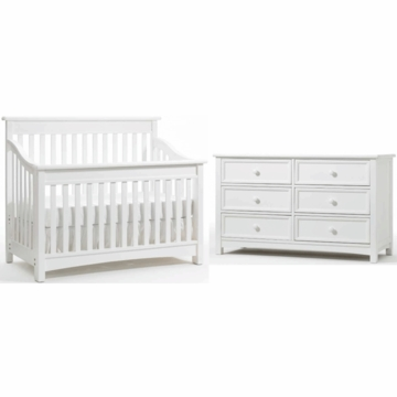 Bonavita Peyton Lifestyle 2 Piece Nursery Set in Classic White - Lifestyle Crib & Double Dresser