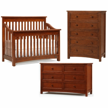 Bonavita Peyton Lifestyle 3 Piece Nursery Set in Chestnut - Lifestyle Crib, Double Dresser & 5 Drawer Dresser