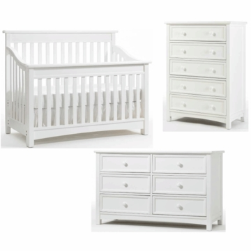 Bonavita Peyton Lifestyle 3 Piece Nursery Set in Classic White - Lifestyle Crib, Double Dresser & 5 Drawer Dresser