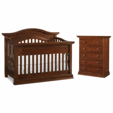Bonavita Sheffield Lifestyle 2 Piece Nursery Set in Dark Walnut - Lifestyle Crib & 5 Drawer Dresser