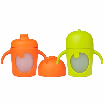 Boon Modster 7 oz Sippy Cups - 2 Pk - Green/Orange