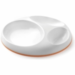 Boon Saucer Stay-put Divided Plate Orange White