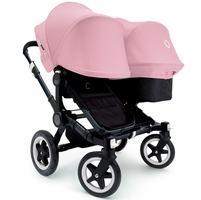 Bugaboo Donkey Duo Stroller - All Black/Soft Pink