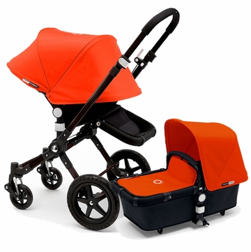 Bugaboo Cameleon 3 Stroller, Extendable Canopy - All Black/Orange