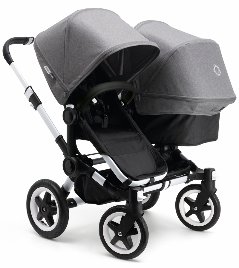 Bugaboo Donkey Duo Stroller Faux Leather Aluminum Black Grey Melange on bugaboo donkey stroller