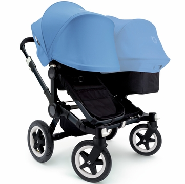 Bugaboo Donkey Duo Stroller, Extendable Canopy - All Black/Ice Blue