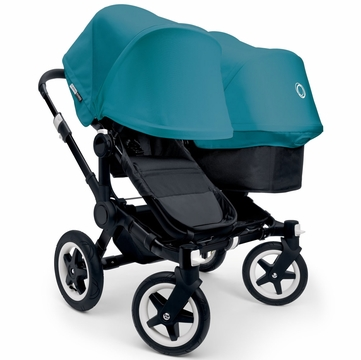Bugaboo Donkey Duo Stroller, Extendable Canopy - All Black/Petrol Blue