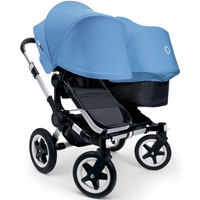 Bugaboo Donkey Duo Stroller, Extendable Canopy - Aluminium Black / Ice Blue