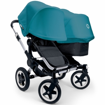 Bugaboo Donkey Duo Stroller, Extendable Canopy - Black/Petrol Blue