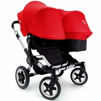 Bugaboo Donkey Duo Stroller, Extendable Canopy Aluminium 2015 Black / Red
