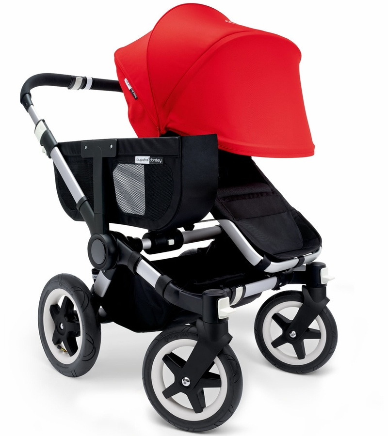 Bugaboo donkey mono stroller extendable canopy 2015 black red